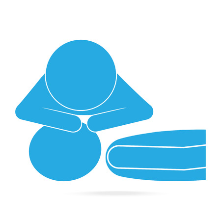 First Aid resuscitation CPR, mouth-to-mouth resuscitation blue icon. Medical sign icon Illustration