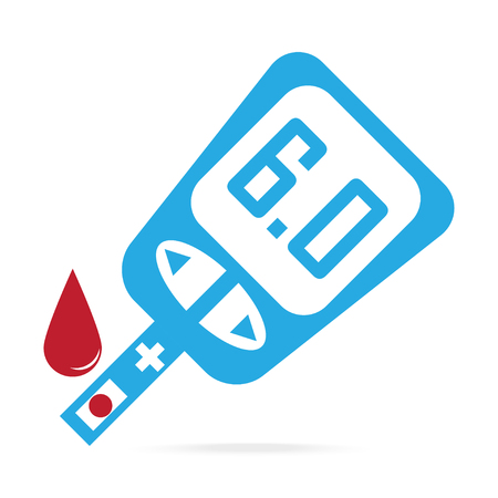 Diabetes blue icon, blood drop to glucose test. Medical sign