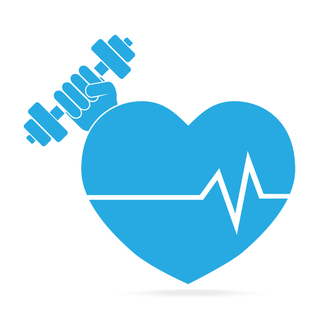 Heart and Hand holding with dumbbell blue icon. Strong Heart concept. Medical sign Illustration