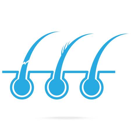 Hair problem and skin blue icon, scalp and hair care Illustration