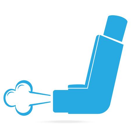 Icono azul del inhalador de asma. Ilustración de símbolo de medicina