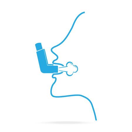 Inhalering for allergy patient or asthma. Asthma inhaler blue icon. Medical concept