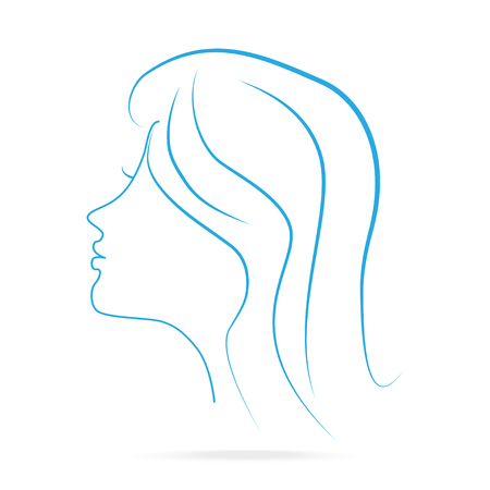 Head woman face of side icon lines blue icon lines style