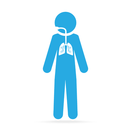 lungs blue icon, medical concept illustration Illustration