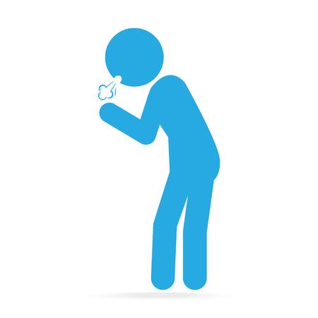 chronic bronchitis: Man Coughing blue icon. Medical concept illustration Illustration