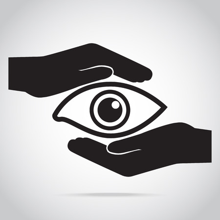 Eye and hand icon, eye care concept