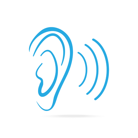 Ear blue icon, hearing and ear icon