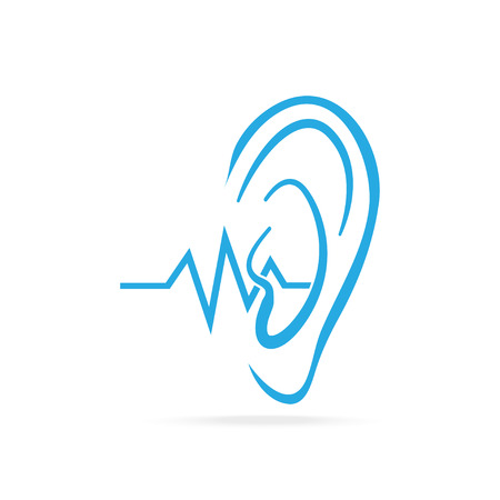 audible: Deaf icon, Hearing and ear blue icon, disability to hear icon
