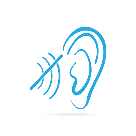audible: Disability to hear blue icon, Deaf icon, Hearing and ear icon