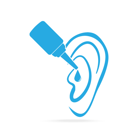 Ear drops blue icon, medical sign icon