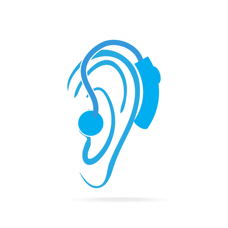 hearing aid: Wearing hearing aid blue icon, Hearing and ear icon Illustration