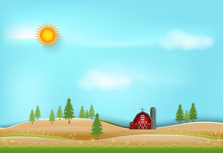 Red barn and blue sky landscape background, paper art style illustration