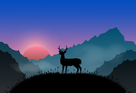 plateau: Deer standing on plateau point sunrise and fog. Nature landscape background Illustration