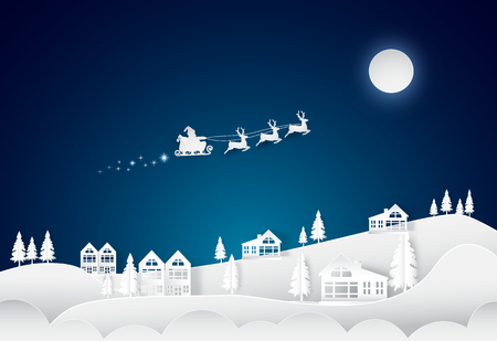 Christmas season santa and deers on night sky with village background. paper art style illustration.