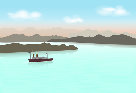 Steamboat sailing in the lake. Nature background  illustration.