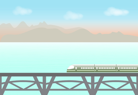 High speed train passing through the lake and mountain, nature background