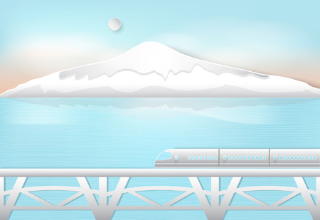 High speed train passing through the lake and mountain, nature background. Paper art,  paper cut style Çizim
