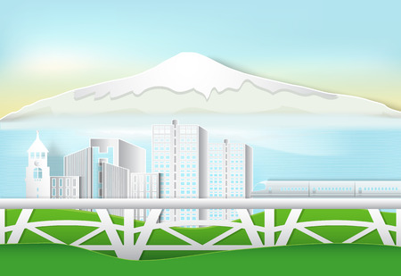 High speed train passing through city and mountain, nature background. Paper art,  paper cut style Çizim