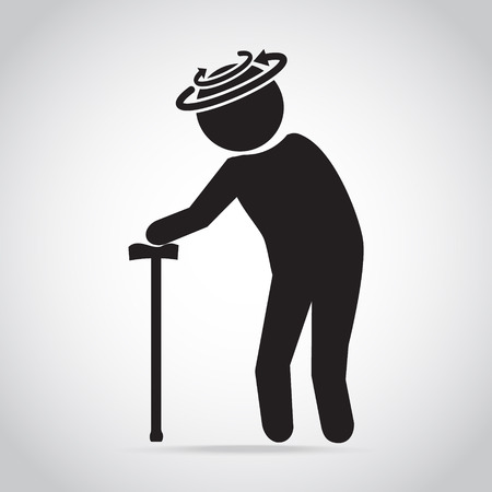 Dizziness elderly man icon. old people icon, medical sign