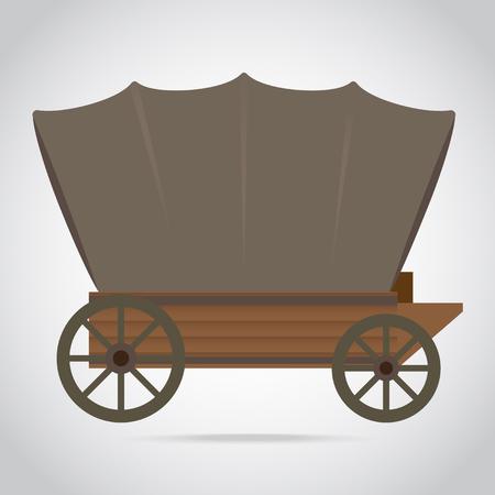 Amerikaanse westerse houten wagen pictogram