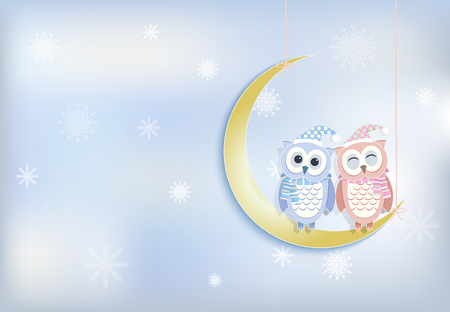 owl illustration: Owl couple and moon with snowflake background, paper art, paper cut style