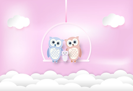 Owl family on pink background, paper art, paper cut style