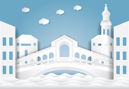 Rialto bridge, Venice in Italy background.  Paper cut, Paper art illustration Иллюстрация