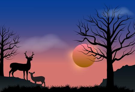 plateau: Deer and sunset, autumn season nature landscape vector background Illustration