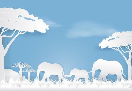 Elephants family in meadow, Paper art style nature landscape background  paper cut illustration Ilustração