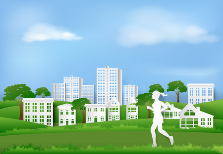 Woman jogging in the park of village, Paper art background  paper cut illustration