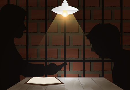Dark Interrogation room with detective and suspect or victim. Jail background