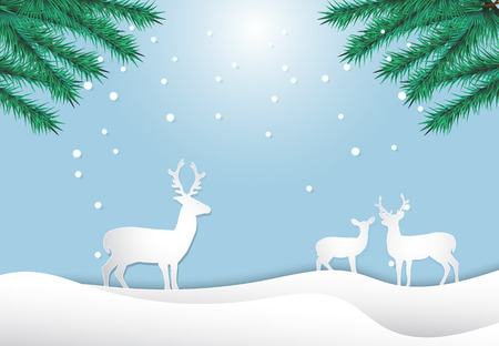 Deer family with pine and snow. The tranquility of nature life,  paper art style illustration.