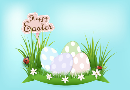 Pile of eggs and ladybug Easter day background