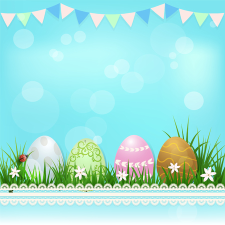 Eggs in the basket and ladybug Easter day background