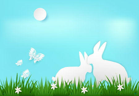 Rabbit and butterfly in meadow. Nature background  paper art style, paper cut illustration.