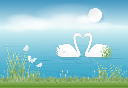 Swan couple in the pond and butterflies paper art style, Valentine concept paper craft style illustration