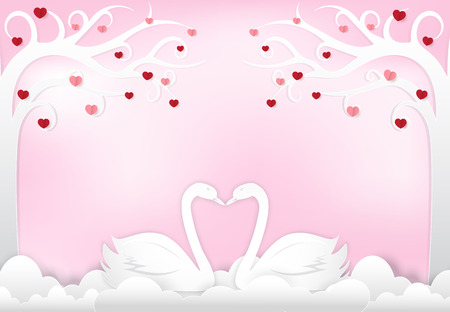 Swan couple with heart and tree on pink background, Valentine day paper art, paper craft style illustration Vettoriali