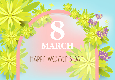 Happy Women's Day greeting paper art background. Yellow flower with frame paper cut style background Illustration