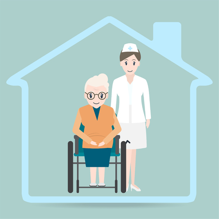 Elderly woman sitting on wheelchair and nurse icon, Nursing home sign icon. Medical care concept.