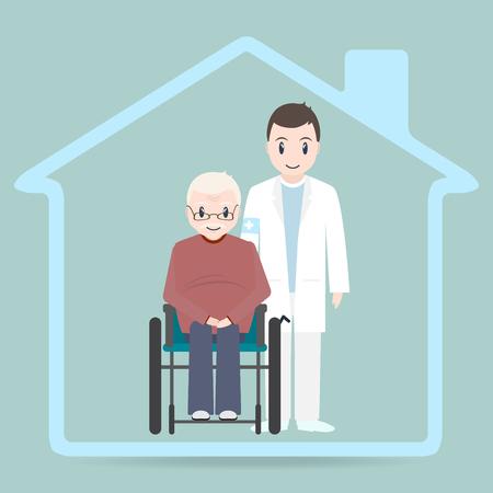 간호 홈 로그인 아이콘, 의사와 노인 휠체어 아이콘에 앉아. 일러스트