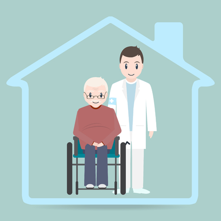Nursing home sign icon, Doctor and elderly man sitting on wheelchair icon.
