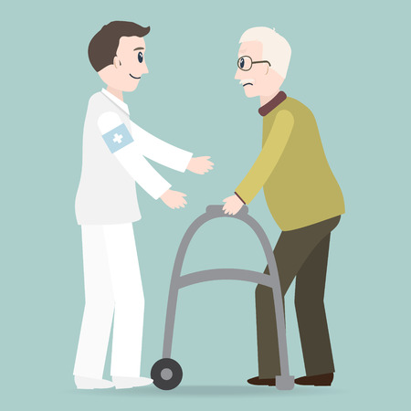 Man helps elderly patient with a walker vector illustration.