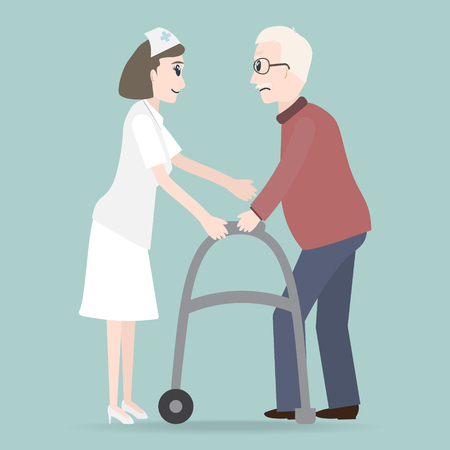 Woman helps elderly patient with a walker vector illustration. Illustration