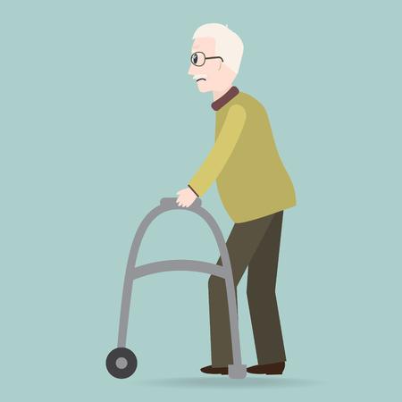Elderly man and walker icon vector illustration. Illustration