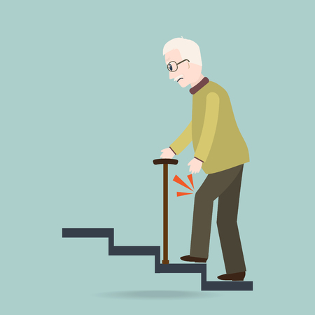 Elderly Man with stick and injury of the knee. Old people symbol vector illustration. Vettoriali