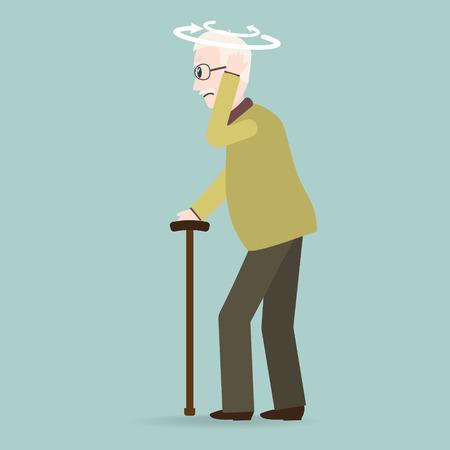 Duizeligheid oudere man pictogram. oude mensen pictogram, medische teken illustratie.