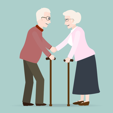 Elderly symbol. Old people icon vector illustration Illustration