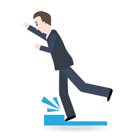 Man tripping over on floor, person injury symbol illustration