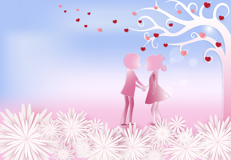 Boy and girl standing under tree of heart with flower valentine pink background paper art, paper craft style illustration Illustration
