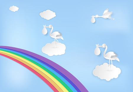 Paper art of stork flying with baby and rainbow on blue sky paper cut style illustration